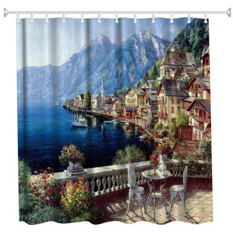 Trendy Polyester Shower Curtain Bathroom  High Definition 3D Printing Water-Proof