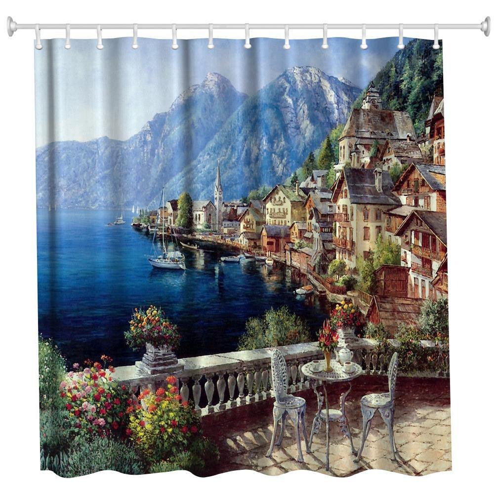 Hot Polyester Shower Curtain Bathroom  High Definition 3D Printing Water-Proof