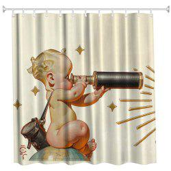 Telescope Baby Polyester Shower Curtain Bathroom  High Definition 3D Printing Water-Proof -