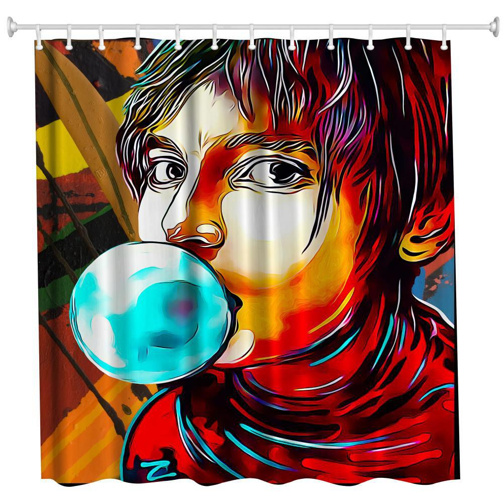New Anime Man God Polyester Shower Curtain Bathroom  High Definition 3D Printing Water-Proof