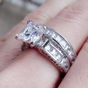 2in1 Womens Vintage White Sapphire Diamond 925 Sterling Silver Engagement Wedding Band Ring Set -
