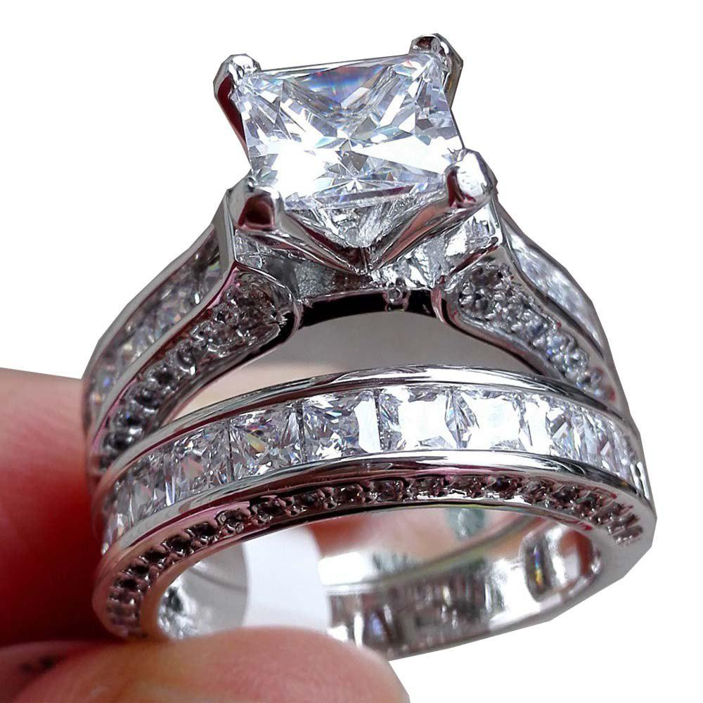 Buy 2in1 Womens Vintage White Sapphire Diamond 925 Sterling Silver Engagement Wedding Band Ring Set