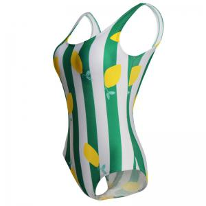 Siamese Female Bikini Lemon Green Striped Swimsuit -