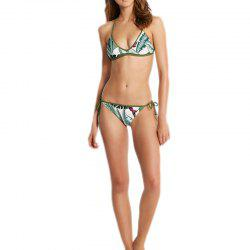 New Lady Split Leaf Pattern Triangle Bikini Set -