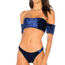 Fashionable Ladies Velvet Short Sleeve Bikini Set -