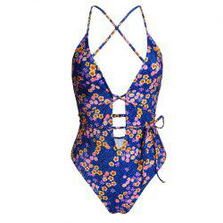 Fashion Bikini Floral Tie Strap Models Swimsuit -
