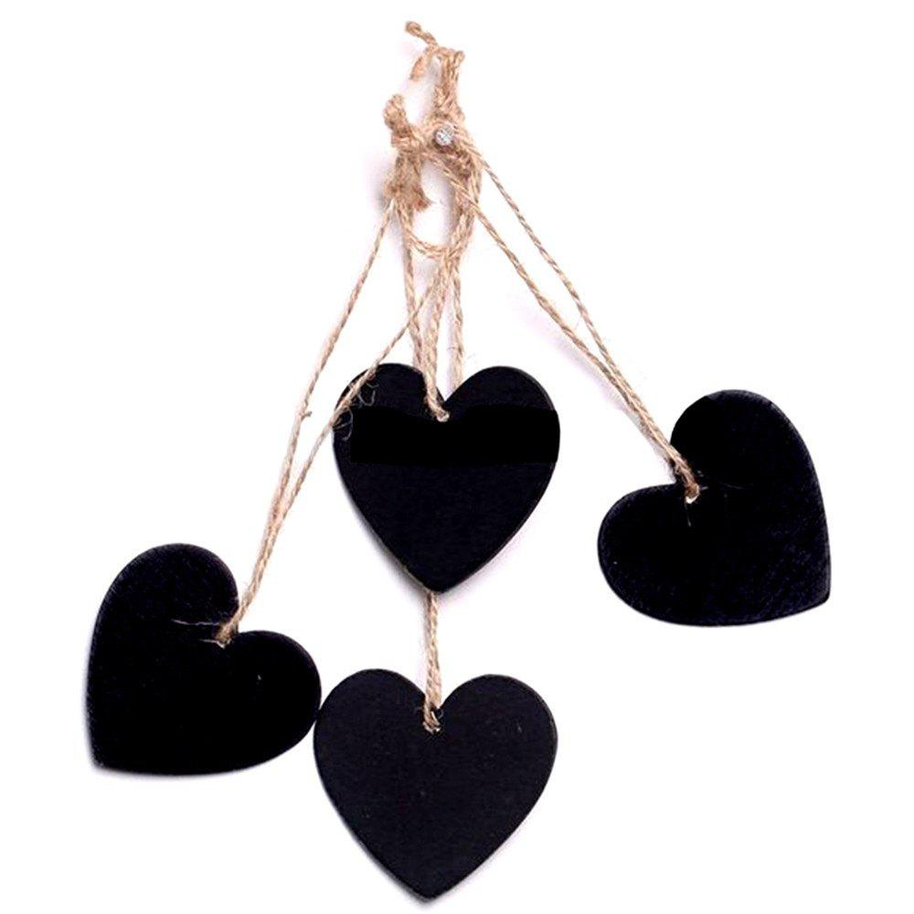 160203 Heart Shaped Small Blackboard Love Wood Home Party Decoration Tag (10 Pcs) 254659701