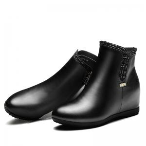Flat Bottom Raised with Fleecy Ankle Boots -