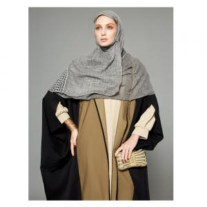 Women's Abaya Patchwork Color Block Open Front Maxi Long Coat -