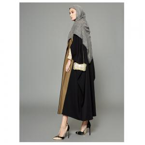 Abaya Patchwork Color Block Ouvert devant Maxi Long Manteau -
