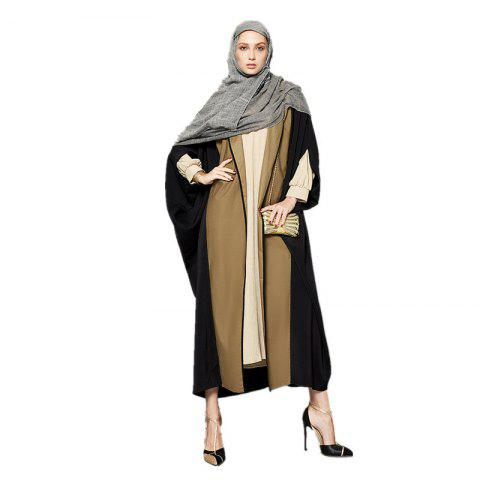 Chic Women's Abaya Patchwork Color Block Open Front Maxi Long Coat