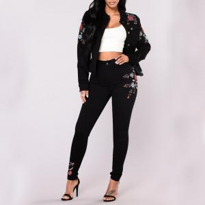Women's Skinny Embroidered Black Jeans Pants -