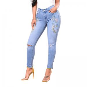 Pantalons Jeans Skinny Embroidered Holes Pants -