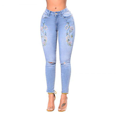 Online Women's Skinny Embroidered Holes Jeans Pants