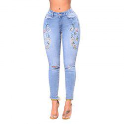 Women's Skinny Embroidered Holes Jeans Pants -
