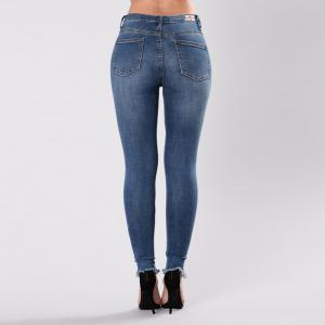 Women's Causal Holes Embroidered Elastic Jeans Pants -