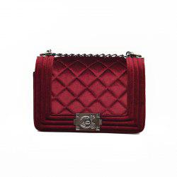 Fashion Rhombic Plaid Velvet Shoulder Messenger Bag -