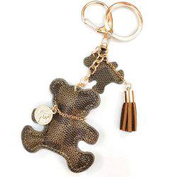Tassel Key Ring PU Leather Bear Pattern -
