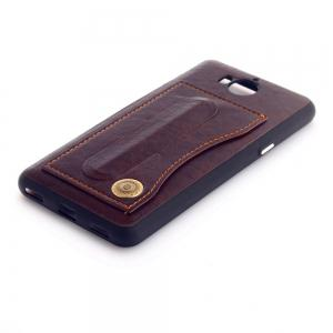 Leather Bracket Insert Card Cell Phone Shell For Huawei Y6 2017 Cases Cover Extravagant Fashion Bracket Phone Case -
