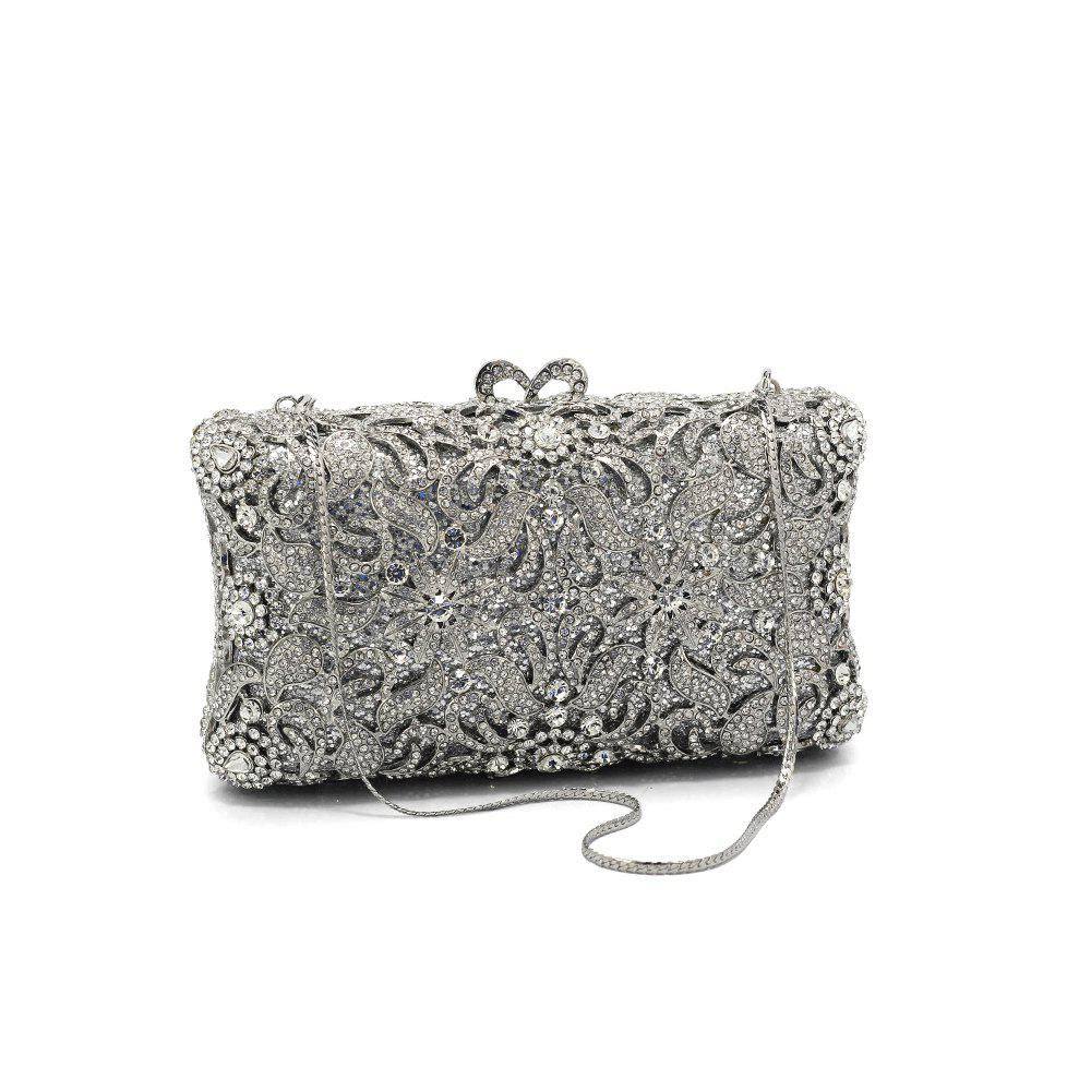 Shop Women Bags Glasses Metal Evening Bag Crystal Detailing for Wedding Event/Party