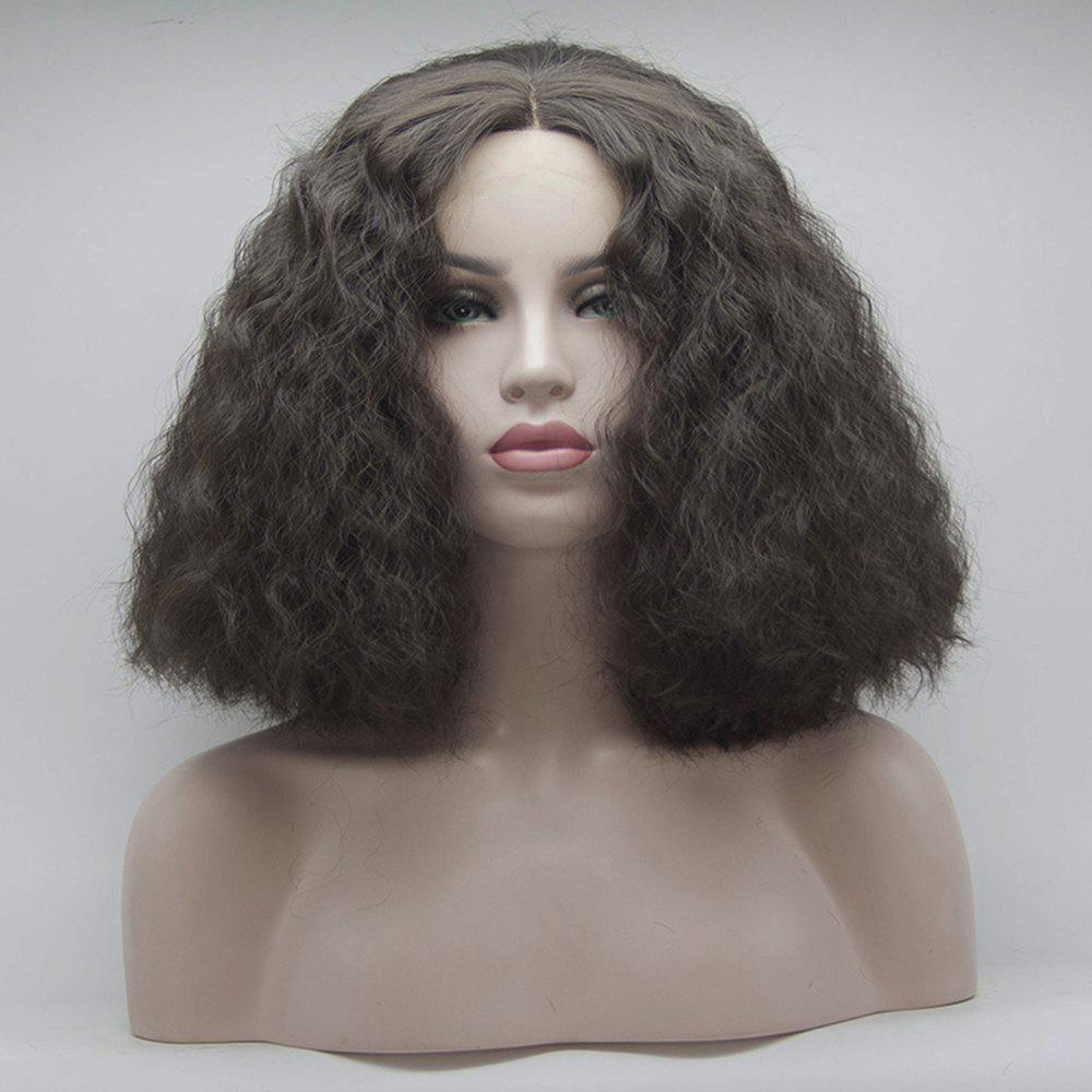Best 14 inch Wigs for Women Dark Brown Short Style Curly Heat Resistant Synthetic Hair Lace Front