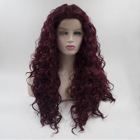 16 - 24 inch Burgundy Color Long Curly Heat Resistant Synthetic Hair Lace Front Wigs for Women