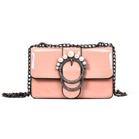 Affordable Ladies Patent Leather Chain Buckle Shoulder Messenger Bag Small