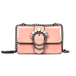 Ladies Patent Leather Chain Buckle Shoulder Messenger Bag Small -