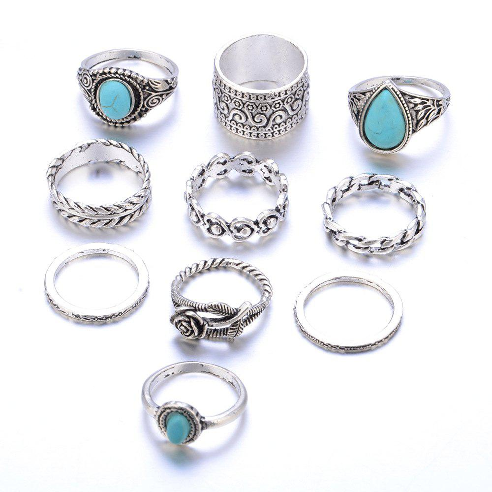 Unique 10 Pieces of Rings Vintage Hollow Carved Rose