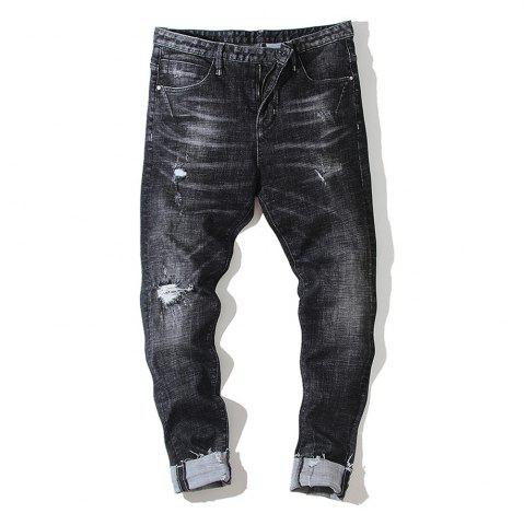 Trendy Slim Men'S Jeans Micro-Shells Washed Black Tide Pants