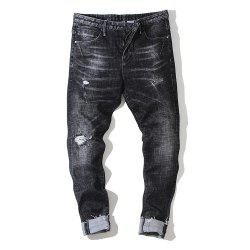 Slim Men'S Jeans Micro-Shells Washed Black Tide Pants -