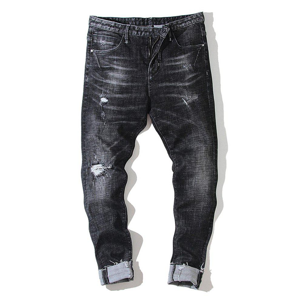Outfit Slim Men'S Jeans Micro-Shells Washed Black Tide Pants