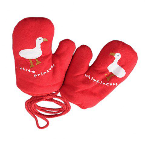 Chic Cartoon Cute Printing Rope Warm Gloves