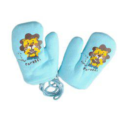 Cartoon Cute Printing Rope Warm Gloves -