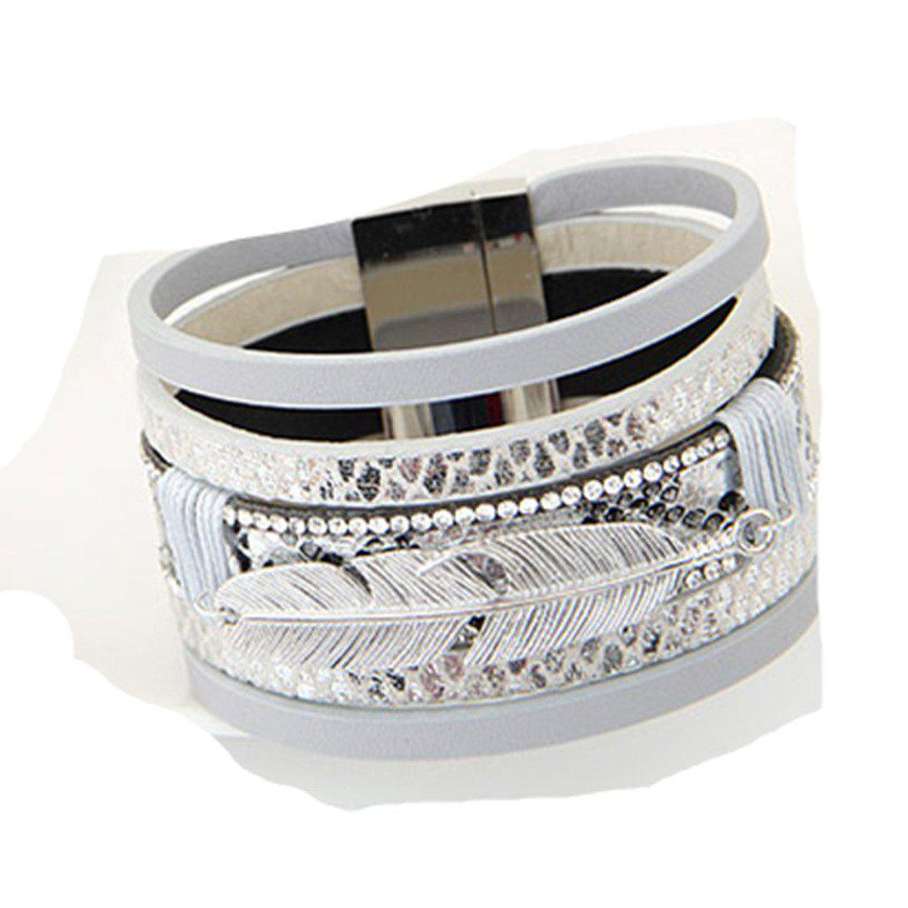 Alloy Feather Leaves Wide Magnetic Leather Bracelets