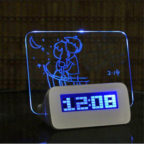 Chic LED Fluorescent Digital Alarm Clock with Message Board  LED Fluorescent Message Board Powered By USB Charger