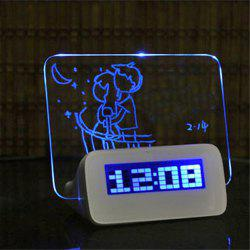 LED Fluorescent Digital Alarm Clock with Message Board  LED Fluorescent Message Board Powered By USB Charg -