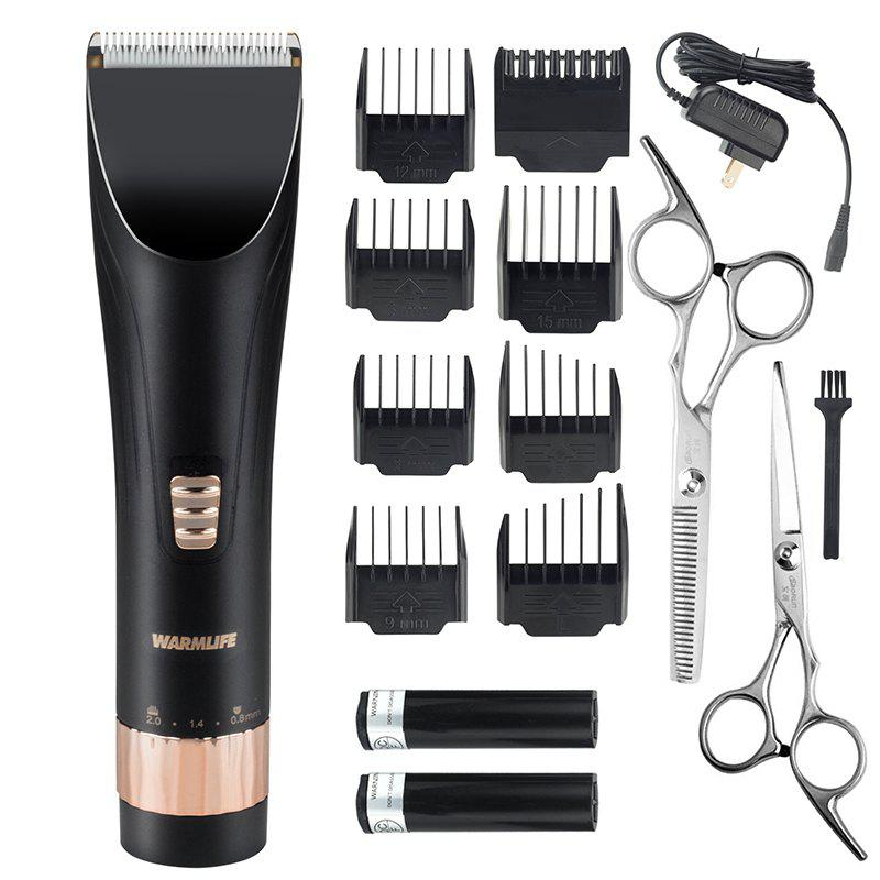 Best Warmlife Professional Cordless Hair Clippers Set Electric Hair Trimmer for Men And Baby Rechargeable Haircut Kit with 2 Batteries 8 Combs 2 Scissors Black