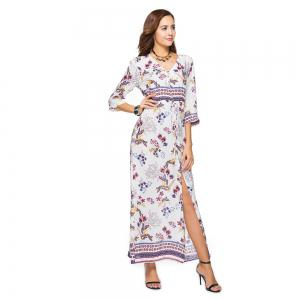 Printing V-Neck Open Fork with Short Sleeves Dress -