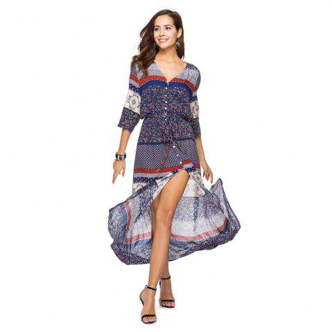 Hot Printing V-Neck Open Fork with Short Sleeves Dress
