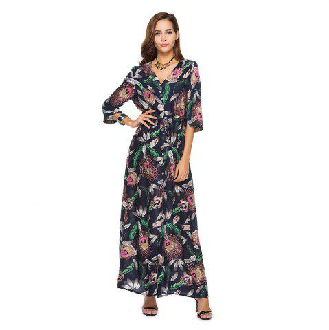 Best Printing V-Neck Open Fork with Short Sleeves Dress