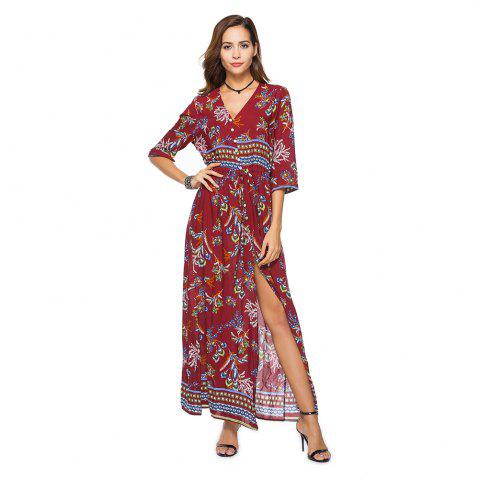 Store Printing V-Neck Open Fork with Short Sleeves Dress