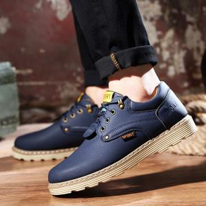 ZEACAVA Men Casual Outdoor Business Formal Wedding Leather Lace Up Trend Fashion Shoes -