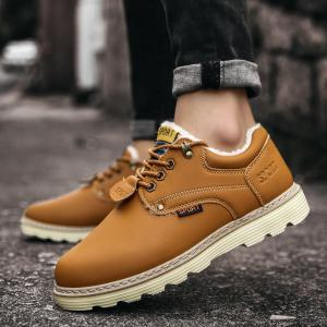 ZEACAVA Men Casual Outdoor Business Formal Wedding Leather Lace Up Trend for Fashion Cotton Shoes -