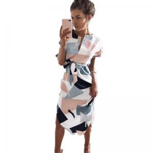 New Women Ladies Sexy Short Sleeve Casual Color Patchwork Knee Length Dress -