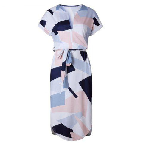 Outfit New Women Ladies Sexy Short Sleeve Casual Color Patchwork Knee Length Dress