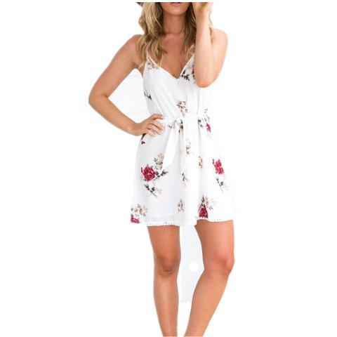 New Fashion Sexy Casual Deep V-neck Floral Print Mini Dresses