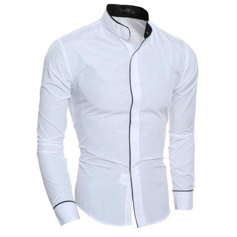 0c2c482db85 Men s Casual Shirt Long Sleeve Stand Collar Regular Fit Shirts - White - M