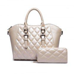 Two Pieces of Trend Diamond Plaid Handbag Shoulder Messenger Bag -