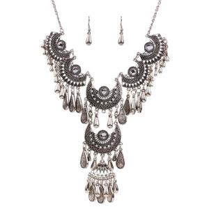 Women's Vintage Jewelry Set Big Tassel Pendant Necklace Drop Earrings -